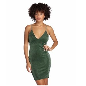 NWT Windsor Green Metallic Strappy Dress Holiday L